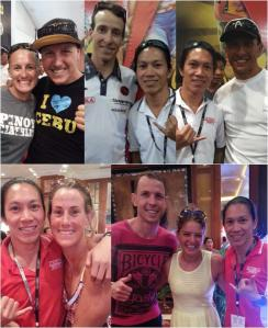 In the photo (left to right): Top - Jacqui Slack & Ben Allen, with IM World Champion Pete Jacobs, with IM World Champion Chris McCormack; Bottom - with Belinda Granger; with Luke and Meg Gillmer