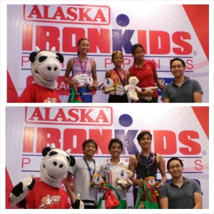 Alaska Ironkids Champs AG 13 to 14: Top Photo - Isabella Kapunan, Una Sibayan & Gabriella Ellis. Bottom Photo - Bambam Manglicmot, Brent Valelo & Drew Magbag