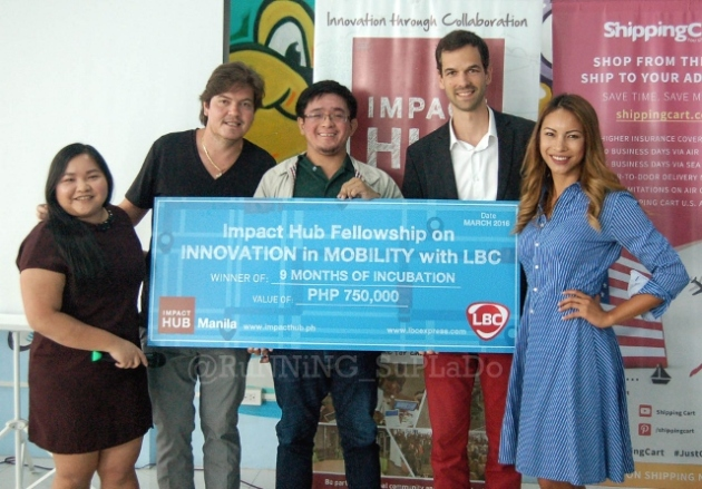 Matthew Cua, Co-Founder of SkyEye, Inc. receives Php750,000.00 support from Impact Hub Fellowship Manila's on Innovation in Mobility with LBC.